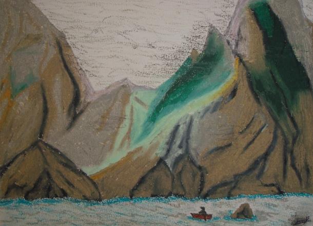 Les côtes de Dùn (Saint Kilda) aux pastels par Clément. Projet, Musique, écriture, théatre