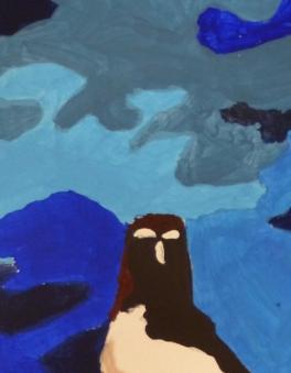 Petit pingouin, détail. Nouvel accent mis sur le jeu des bleus, gouache, Clément B., 2015.