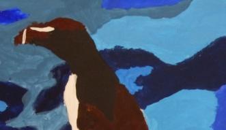 Petit pingouin, détail. Jeu des bleus en arrière plan, gouache, Clément B., 2015.