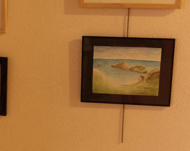 L'aquarelle de Camille dans son cadre, exposée à la Maison Pour Tous des Rancy (Lyon 3e arrondissement).