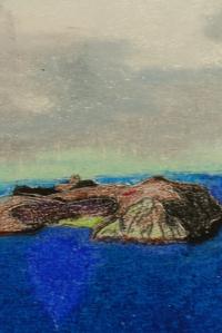 Gros plan sur Hirta assombrie par les brumes, dessin aux pastels gras, Clément B. Juin 2015