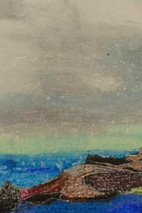 Zoom sur Dùn, sous les nuages menaçants, dessin aux pastels gras, Clément B. Juin 2015