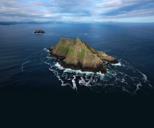 Skellig Michael (1er plan) et Little Skellig. Photo visible sur skelligislands.com
