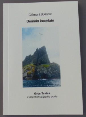 Demain incertain, publié chez Gros Textes. L'image de couverture est une photo prise pendant notre séjour à St Kilda.