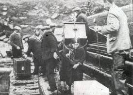 St Kildans on the Pier on Hirta with their belongings ready to load onto the ship (Katie Gillies)
